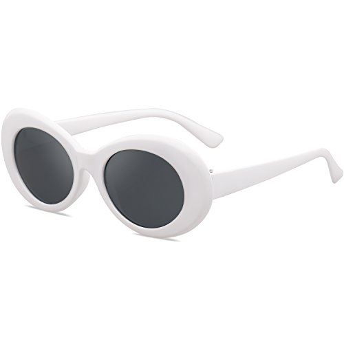 SOJOS Clout Goggles Oval Mod Retro Vintage Kurt Cobain Inspired Sunglasses Round Lens SJ2039 with White Frame/Grey Lens (Vintage Ovale Gläser)