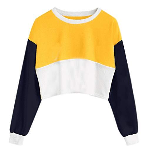 Ankola Short Sweatshirt Women's Color Matching Long Sleeve Crewneck Crop Top Sweatshirt (S, Yellow) by Ankola Women Hoodies