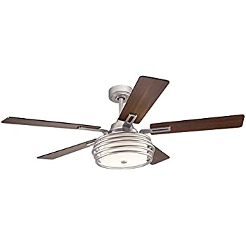 Kichler lighting 52 in mediterranean walnut with bronze accents kichler lighting bands 52 in brushed nickel downrod mount indoor ceiling fan with light kit and remote aloadofball Gallery