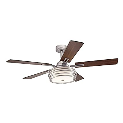 Kichler lighting bands 52 in brushed nickel downrod mount indoor ceiling fan with light kit