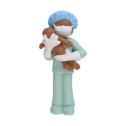 Personalized Obstetrician Midwife New Father Christmas Tree Ornament 2019 - African-American Surgeon Birth Coach Daddy Baby First Momentous Ethnic Doctor Nurse Pediatric Black - Free Customization