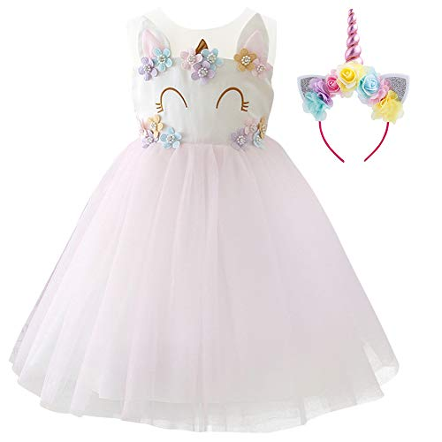 (Girls Unicorn Dress up Costume Princess Dressing Gown Tulle Tutu Skirt Headband Halloween Birthday Party Outfits for Kids Pageant Wedding Casual Photography Props Cosplay 2Pcs Set Light Pink)