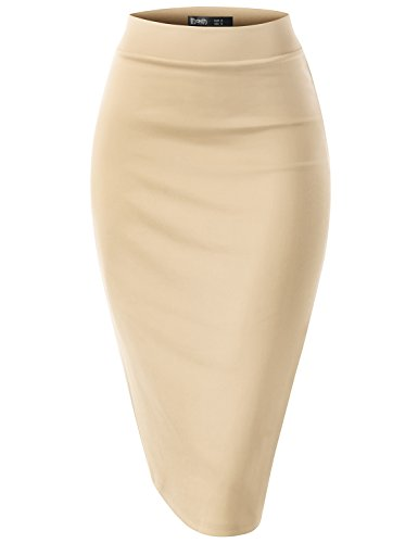 TWINTH Women's Elastic Waist Band Stretchy Fabric Pencil Skirt Oatmeal XL Plus Size ()
