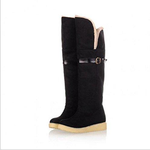 Cálida nieve Botas zapatos ocasionales de las correas de la hebilla de lijado black