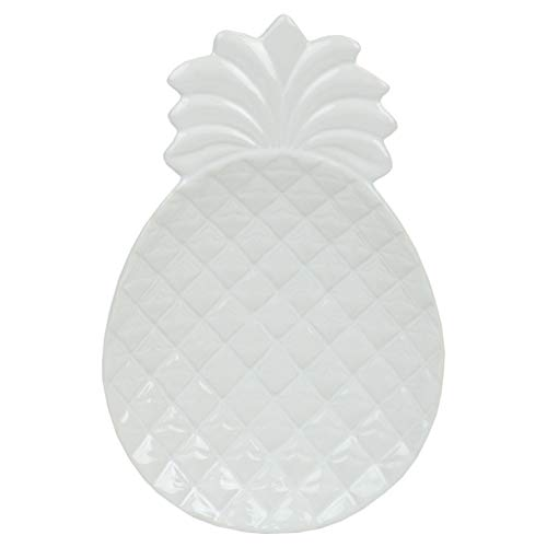 Pineapple Glazed - Home Basics SR41832 Island Elegance Glazed Ceramic Large Pineapple Spoon Rest/Cooking Utensil/Ladle Holder for Kitchen Stove & Counter Top (White)
