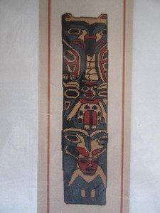 (Totem Pole Northwest Coast Native Cross Stitch Needlepoint Chart)