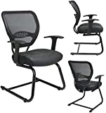 Professional AirGrid Back Visitors Chair with Leather Seat