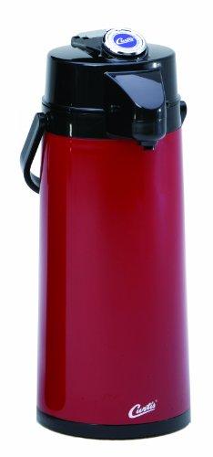 Wilbur Curtis Thermal Dispenser Air Pot, 2.2L Red Body Glass Liner Lever Pump - Commercial Airpot Pourpot Beverage Dispenser - TLXA2206G000 (Each)