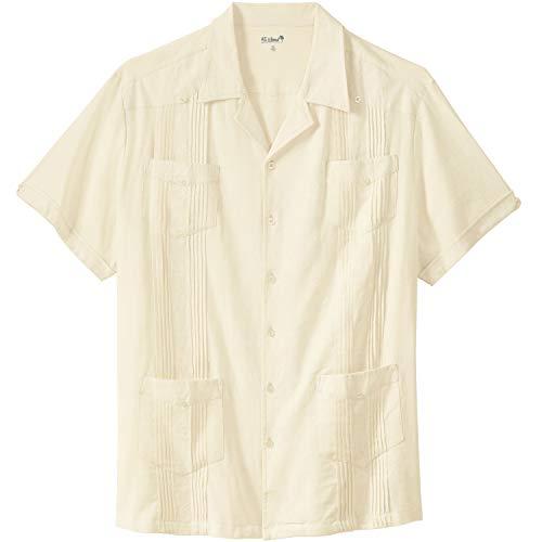 - Kingsize Men's Big & Tall Short-Sleeve Linen Guayabera Shirt, Cream Tall-XL