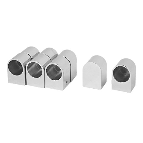 uxcell Wardrobe 19.5mm Dia Metal Wall Mounted Pipe Tubular Clothes Lever Bracket 8pcs by uxcell