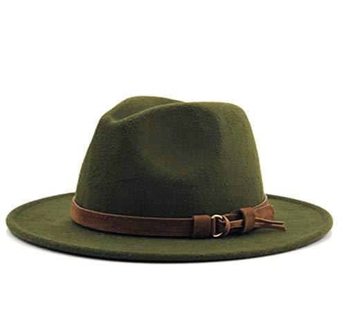 (KKONION Fedora Hats Wool with Leather Ribbon Gentleman Elegant Lady Winter Autumn Wide Brim Jazz Church Army)