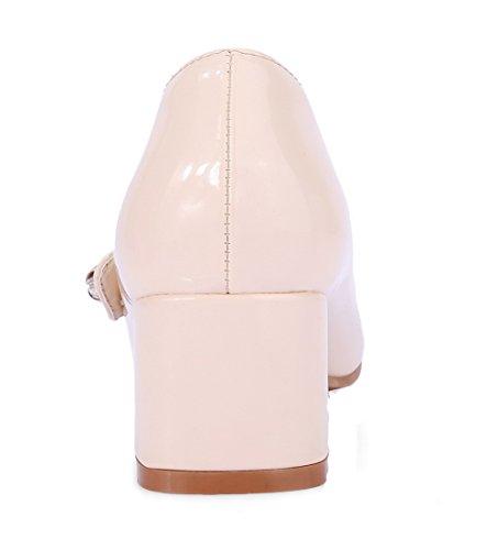 Odomolor Tå Kvinners Runde Solid Hæler Lukket Lær Patent sko Pumper Aprikos Kattunge rrw8pqx7