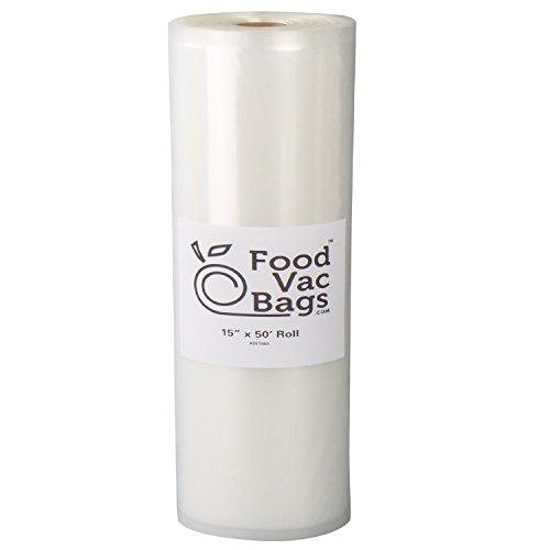 "One FoodVacBags 15"" X 50' Roll of Vacuum Sealer Storage Bag"