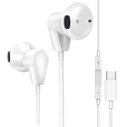 (USB C Earbud Headphones, Hi-Fi Wired in-Ear Stereo Noise Cancelling Earphones with Mic & Remote, Sports Headset Compatible with Pixel Moto Z Huawei, HTC 10/U11, Essential Phone & Type-C Devices -White)