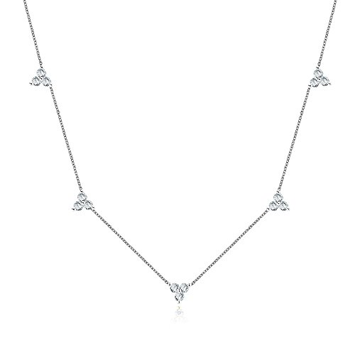 White Zircon Necklace - Sterling Silver Triple Cubic Zircon Stones Cluster Choker Chain Necklace 14-16 Inch, White Gold Finish