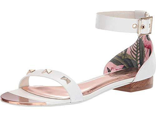 Ted Baker Women's OVEY Flat Sandal, White Leather, 7 M US
