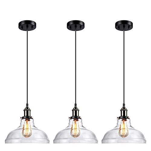 Restaurant Pendant Lighting - LEONLITE Industrial Clear Glass Pendant Light Fixture, UL Listed, E26 Base, Edison Vintage Style Lampshade, Adjustable Height, for Kitchen, Dining Room, Restaurant, Cafe, Pack of 3