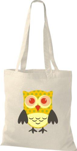 Stoffbeutel Bunte Eule niedliche Tragetasche mit Punkte Owl Retro diverse Farbe natur hlV3w3