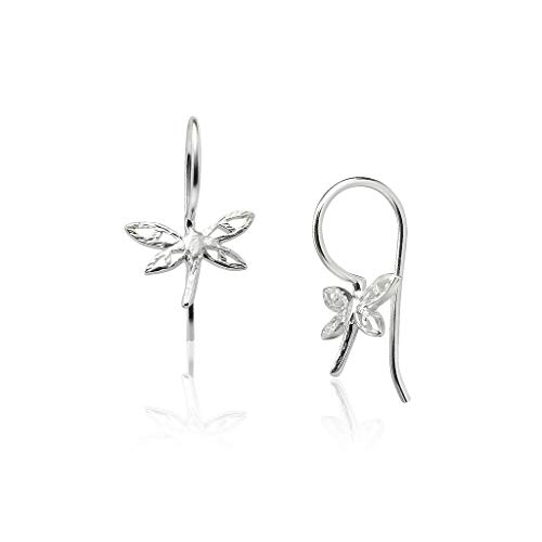 Big Apple Hoops - Genuine 925 Sterling Silver Beauty of Nature Delicate Dragonfly Dangle Hook Earrings | Beautiful Polish Finish