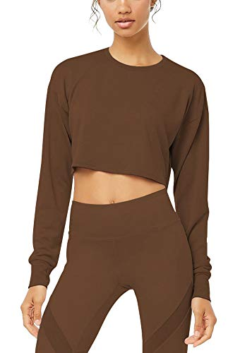 Bestisun 2019 Fashion Gym Activewear Top Wokrout Fitness Long Sleeve Cropped Petite Tank Daily Cute Running Shirts for Athletic Women Brown M