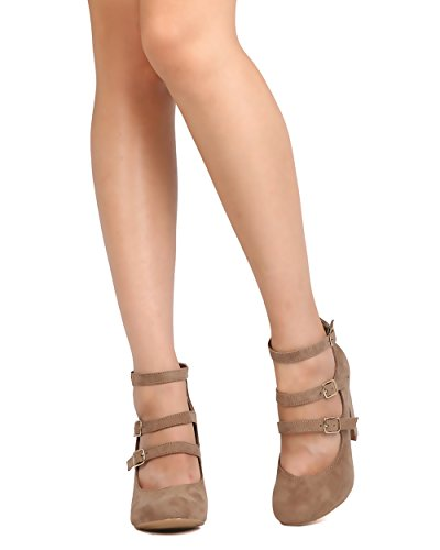 Mark Maddux FD53 Women Faux Suede Triple Strap Chunky Heel Pump - Taupe US6vGxCE