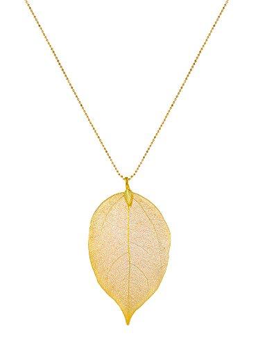 CLORIS TAUTOU Long Necklaces for Women, A Golden Leaf ()