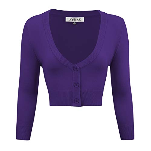 Women's Cropped 3/4 Sleeves Cardigan Sweater Vintage Inspired Pinup CO129-GRP-2X Grape