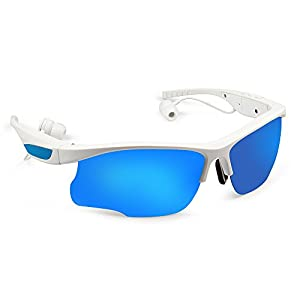 Wosports Sunglasses Stereo Headphone Bluetooth Music Handfree Noise Cancelling Headset Sports Polarized Man Woman Glasses Apply to Android IOS Smartphones (Sunglasses Headset White)