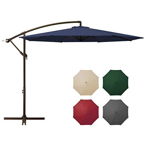 affordable DOMICARE 10ft Offset Hanging Patio Umbrella with 8 Ribs, Outdoor Market Umbrella Easy Tilt Adjustment, Cantilever Umbrella for Backyard, Poolside, Lawn and Garden, Navy