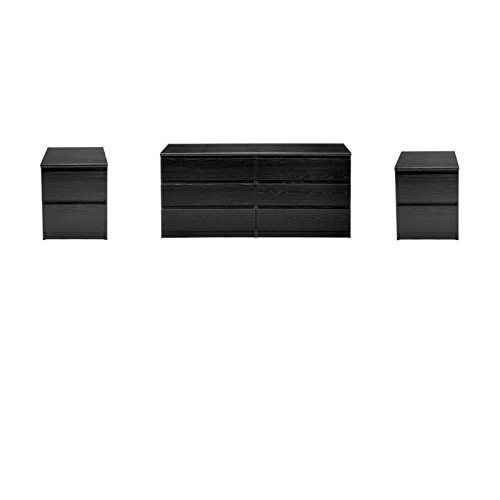 (Home Square 3 Piece Set with 6 Drawer Double Dresser and Two 2 Drawer Nightstands in Black)