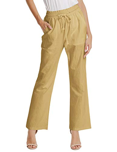 Bootcut Cotton Trousers (Women's Ease in to Comfort Fit Pants Straight Bootcut Pants Trouser Khaki XL)
