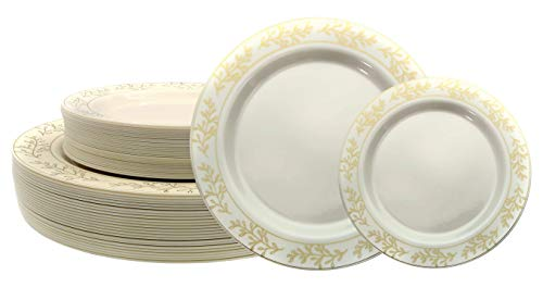 """Premium 60 Pack Combo Disposable Plastic Plates 