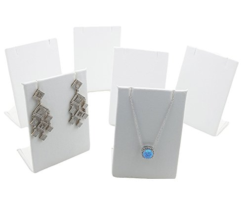 FlanicaUSA 6 pcs White Pendant Chain Necklace and Earring Display Stand (Pendant Chain White Jewelry Display)