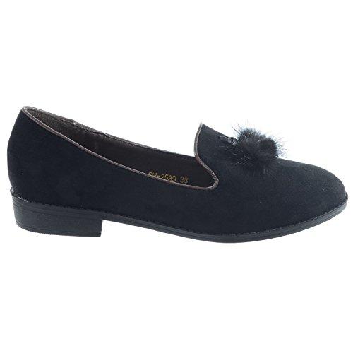 Nuevo Mujer Niña Sin Cordones Muñequita Bailarinas Piel Borla Informal Tacón Bajo Plano Zapatos Talla Black Faux Suede
