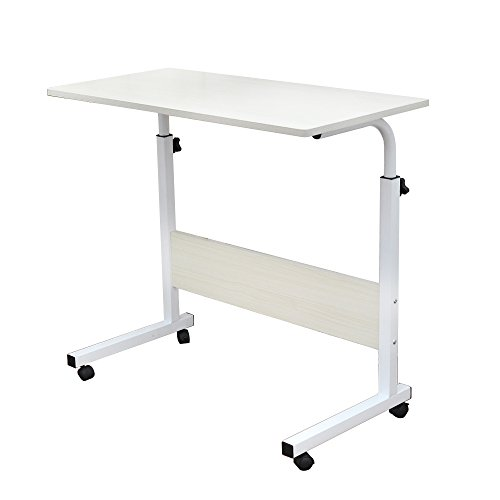 SogesPower 31.5 inches Mobile Laptop Desk Adjustable Side Table Computer Stand for Bed Sofa,White Maple