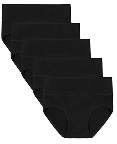 Annyison Women Panties 2-5 Pack, Soft Cotton Tummy Control High Waist Breathable Solid Color Briefs Panties for Women (5 Pack in 5 Black Colors, XL)