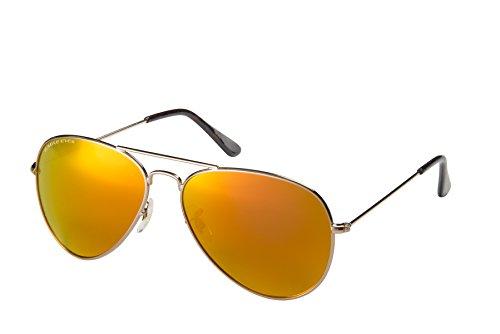 Eagle Eyes Mirrored Polarized Sunglasses  - Celebrity Classic Aviator Sunglasses, Gold Frame, red-orange Lenses, Large 58 - Celebrity 2014 Sunglasses