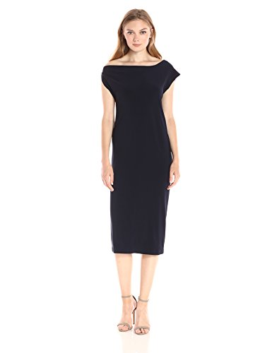 Norma Kamali Women's Drop Shoulder Dress, Midnight, S (Fitted Drop Shoulder)