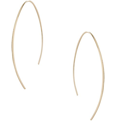 Humble Chic Upside Down Hoops - Hypoallergenic Lightweight Open Wire Needle Drop Dangle Threader Earrings, 24K Yellow, Gold-Electroplated by Humble Chic NY (Image #1)