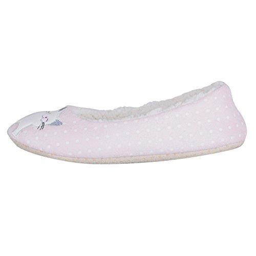 Ladies Pink Novelty Cat Kitten Ballet Ballerina Slippers Non-Slip Fabric Sole hSY4bdVXo