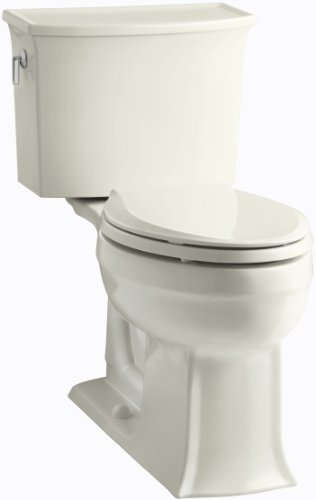 KOHLER K-3551-96 Archer Comfort Height Two-Piece Elongated 1.28 GPF Toilet with AquaPiston Flush Technology and Left-Hand Trip Lever