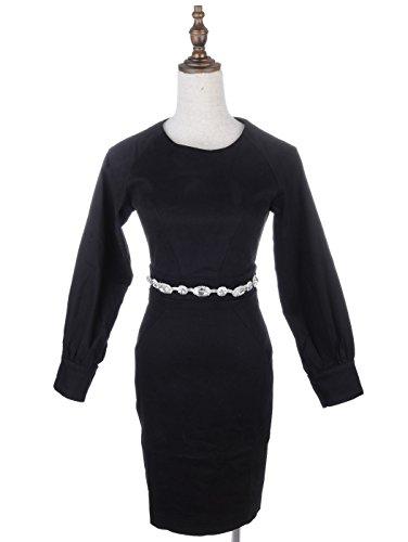 verziert Kleid Anna Kaci Strass Bishop Schwarz M S Fit Gürtel Ärmeln vUn7v