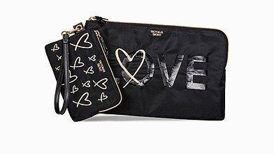 Victorias Secret Bling Sequin LOVE Clutch Zippered Pouch Wristlet Set Victoria/'s Secret 3720