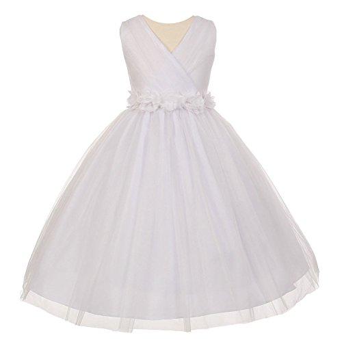 Big Girls White Chiffon Flowers Shiny Tulle Junior Brides...