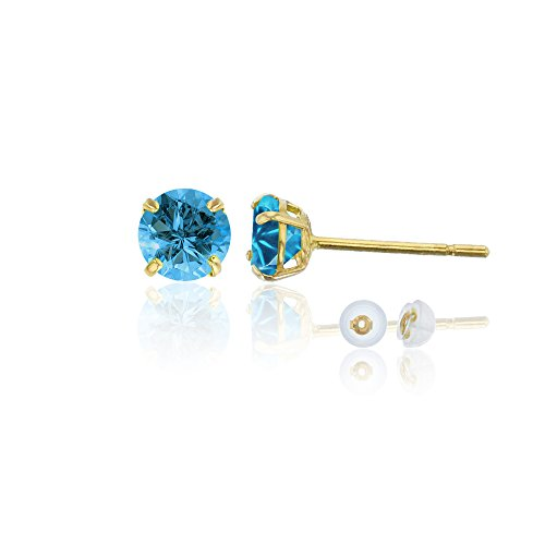 14K Yellow Gold 4.00mm Round Swiss Blue Topaz Stud Earring (14k Yellow Swiss Gold)