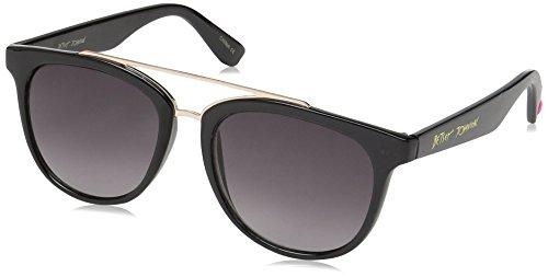 Betsey Johnson Women's Grace Browbar Square Sunglasses, Black, 60 - Betsey Sunglasses Case Johnson
