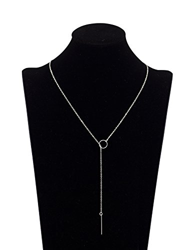 Geerier 1PC Women Pendant Bar Necklace Simple Y-Type Chain Ring Necklace Silver (Costume Necklace)