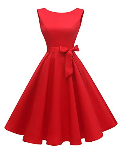 Hanpceirs Women's Boatneck Sleeveless Swing Vintage 1950s Cocktail Dress Red L