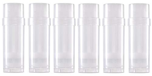 6 ct  Deodorant Twist-up Empty Containers (Natural) - for lotion bar, heel  balm etc  (2 oz ) - Empty Deodorant Tubes (Clear)