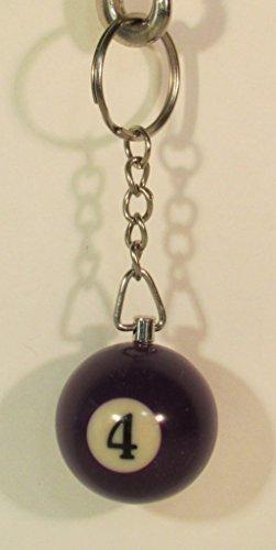 1.25 Inch Number 4 Four Mini POOL BALL Billiard Key Chain Ring Keychain NEW - Snooker Ball Diameter